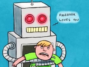 Facebook abrazando a un ser humano que se resiste a ser abrazado por Facebook