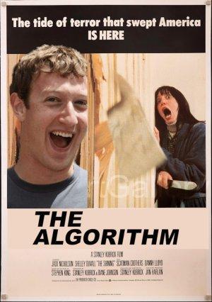 Cartel de la película El Resplandor pero con Zuckerberg en vez de Jack Nicholson y titulado The Algorithm